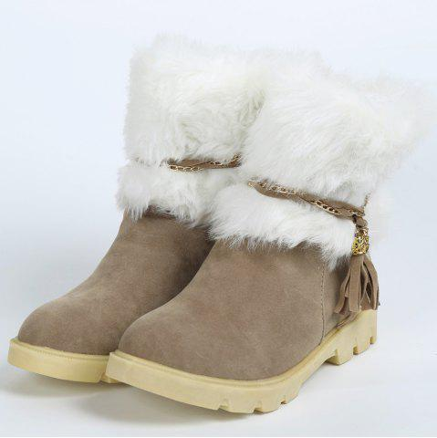New Cute Plush and Tassels Design Women's Snow Boots - 41 APRICOT Mobile