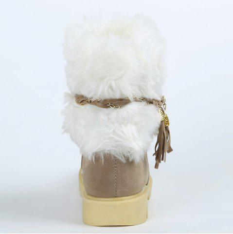 Latest Cute Plush and Tassels Design Women's Snow Boots - 41 APRICOT Mobile