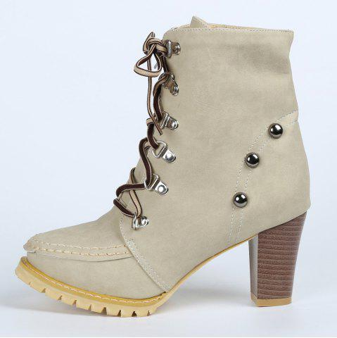 Outfits Trendy Lace-Up and Rivets Design Women's Chunky Heel Short Boots - 38 APRICOT Mobile