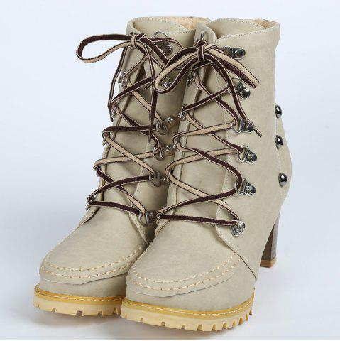 Chic Trendy Lace-Up and Rivets Design Women's Chunky Heel Short Boots - 38 APRICOT Mobile