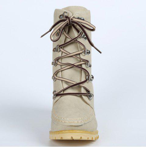 Unique Trendy Lace-Up and Rivets Design Women's Chunky Heel Short Boots - 38 APRICOT Mobile