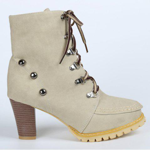 Latest Trendy Lace-Up and Rivets Design Women's Chunky Heel Short Boots - 38 APRICOT Mobile