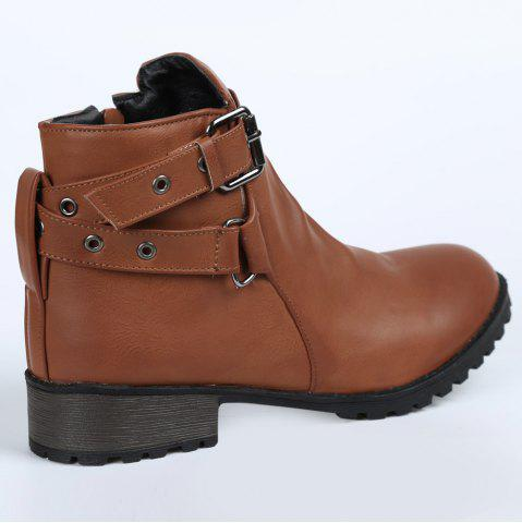 Shop Stylish Cross Straps and Zipper Design Women's Ankle Boots - 38 BROWN Mobile