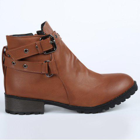 New Stylish Cross Straps and Zipper Design Women's Ankle Boots - 38 BROWN Mobile