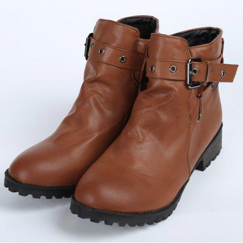 Outfits Stylish Cross Straps and Zipper Design Women's Ankle Boots - 38 BROWN Mobile