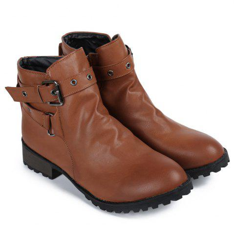 Latest Stylish Cross Straps and Zipper Design Women's Ankle Boots BROWN 38