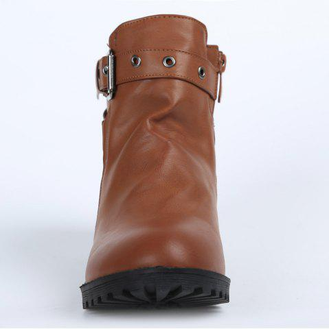 Hot Stylish Cross Straps and Zipper Design Women's Ankle Boots - 38 BROWN Mobile