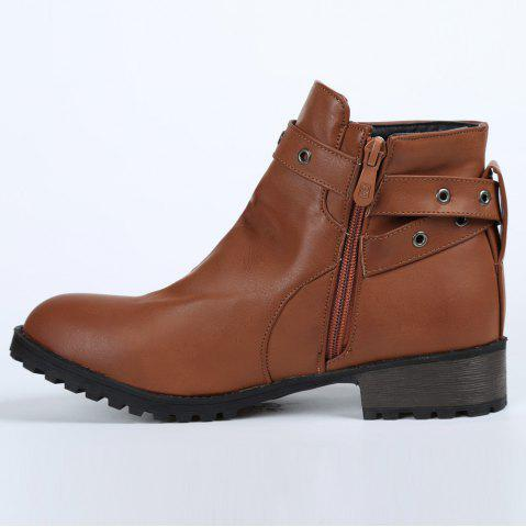 Trendy Stylish Cross Straps and Zipper Design Women's Ankle Boots - 38 BROWN Mobile