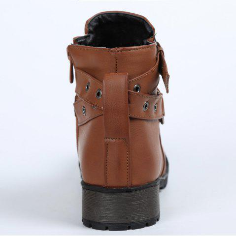 Chic Stylish Cross Straps and Zipper Design Women's Ankle Boots - 38 BROWN Mobile