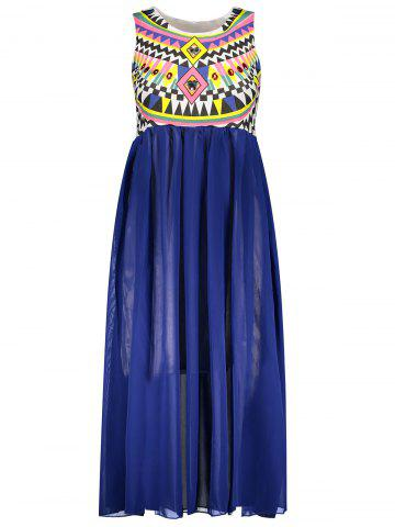 Hot Ruffled Sleeveless Print Bohemian Chiffon African Maxi Dress BLUE ONE SIZE