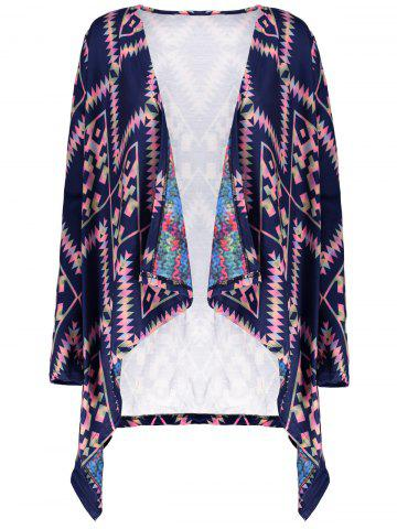 Latest Retro Style Collarless Long Sleeve Loose-Fitting Ethnic Print Women's Cardigan PURPLISH BLUE S