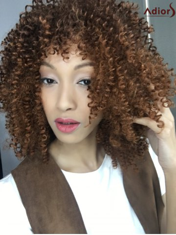 New Stylish Towheaded Afro Curly Capless Medium Brown Synthetic Wig For Women COLORMIX