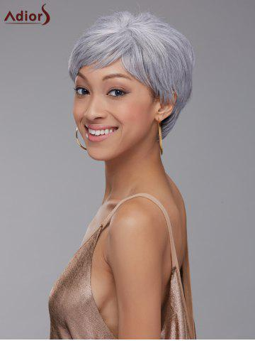 Store Elegant Short Pixie Cut Straight Grey White Synthetic Wig For Women