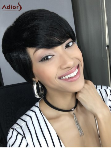 Short Straight Side Bang Capless Heat Resistant Synthetic Wig - BLACK