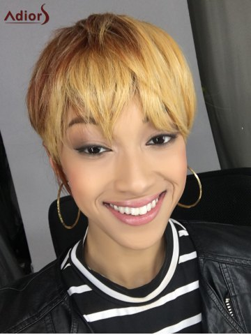 Fashion Short Neat Bang Straight Mixed Color Synthetic Wig COLORMIX