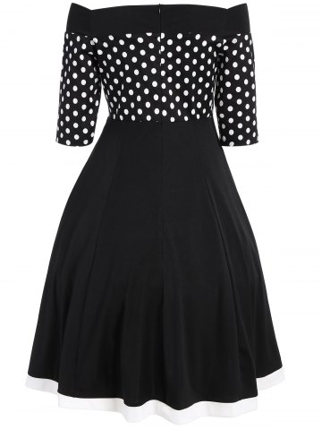 Outfits Polka Dot Off The Shoulder Midi Vintage Dress - S BLACK Mobile