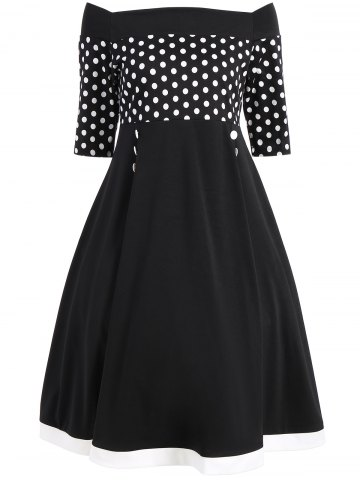 Latest Polka Dot Off The Shoulder Midi Vintage Dress - S BLACK Mobile