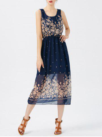 Outfits Printed See Thru Chiffon Swing Dress - ONE SIZE PURPLISH BLUE Mobile