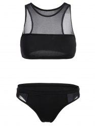See-Through Crop Top Sheer Bathing Suit - BLACK M