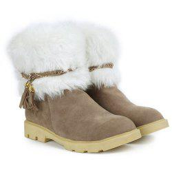 Cute Plush and Tassels Design Women's Snow Boots - APRICOT