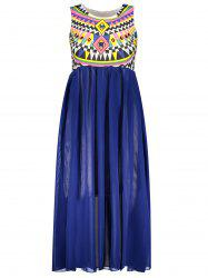 Ruffled Sleeveless Print Bohemian Chiffon African Maxi Dress - BLUE