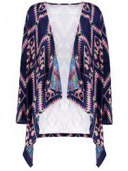 Retro Style Collarless Long Sleeve Loose-Fitting Ethnic Print Women's Cardigan - PURPLISH BLUE S