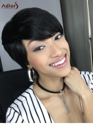 Short Straight Side Bang Capless Heat Resistant Synthetic Wig