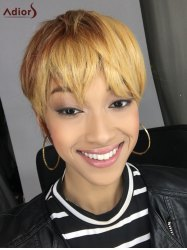 Short Neat Bang Straight Mixed Color Synthetic Wig - COLORMIX