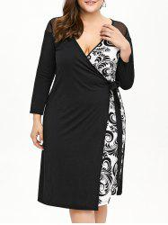 Plus Size Printed Long Sleeve Wrap Work Dress