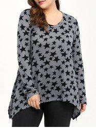Star Print Asymmetric Plus Size T-Shirt -