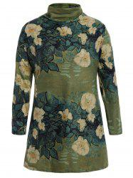 Cowl Neck Floral Print Plus Size Top