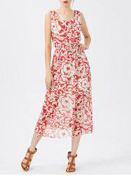 Sleeveless Chiffon Tea Length Flower Dress