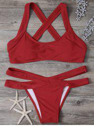 Criss Cross Cut Out Bikini Set - RED