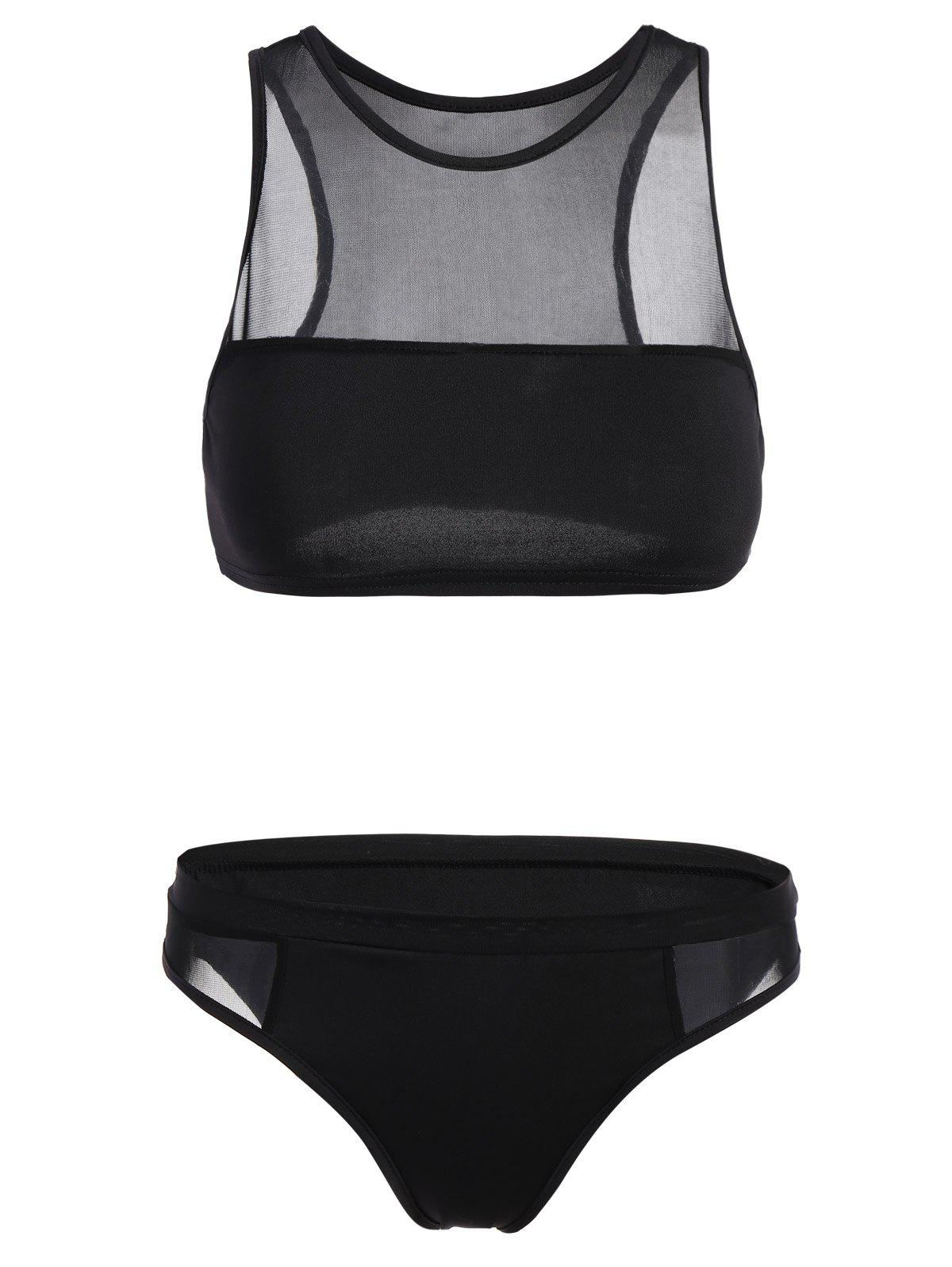 See-Through Crop Top Sheer Bathing SuitWOMEN<br><br>Size: XL; Color: BLACK; Gender: For Women; Material: Polyester; Bra Style: Push Up; Support Type: Wire Free; Pattern Type: Solid; Swimwear Type: Two-Pieces Separate; Waist: Natural; Weight: 0.085KG; Package Contents: 1 x Crop Top  1 x Briefs;