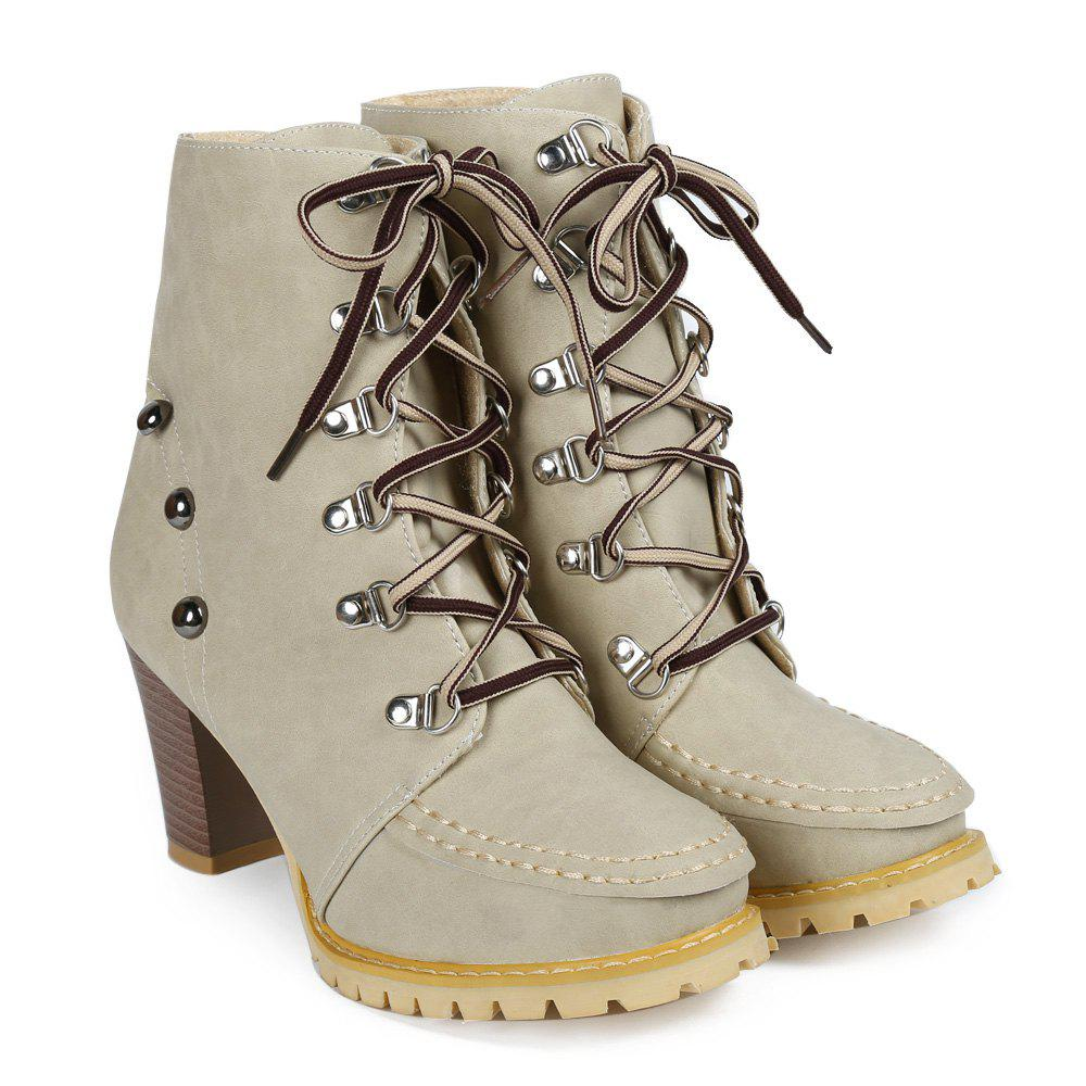Outfit Trendy Lace-Up and Rivets Design Women's Chunky Heel Short Boots