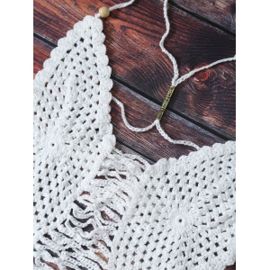 Strappy Scalloped Crochet Halter Bikini - WHITE ONE SIZE
