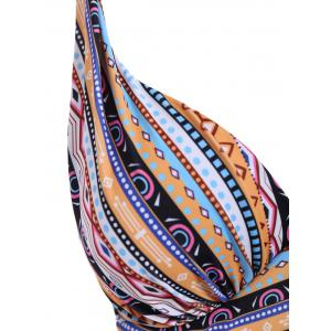 Sexy Halter Spliced Tribal Print Plus Size One-Piece Women's Swimwear - COLORMIX XL