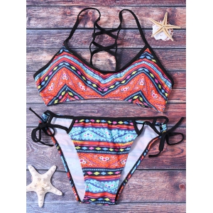 Ethnic Printed Strappy Bikini Set For Women - COLORMIX M