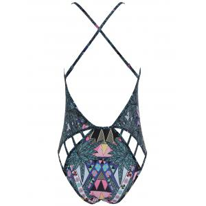 Fresh Style Printed Cut Out Backless Criss-Cross Swimwear For Women -