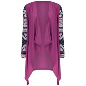 Women's Fashionable Loose Long Sleeve Print Asymmetrical Cardigan