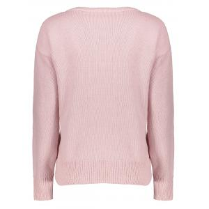 Lace-Up Loose Casual Sweater - LIGHT PINK ONE SIZE
