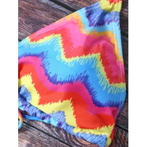 Chic Colorful Zig Zag Print Bikini  For Women -