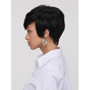 Spiffy Boy Haircut Straight Capless Black Synthetic Wig For Women -