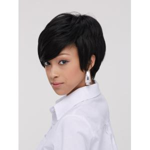 Spiffy Boy Haircut Straight Capless Black Synthetic Wig For Women - BLACK