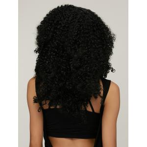 Shaggy Afro Curly Medium Capless Trendy Black Synthetic Wig For Women - BLACK