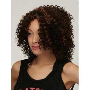 Prevailing Colormix Medium Side Parting Curly Synthetic Hair Wig - COLORMIX