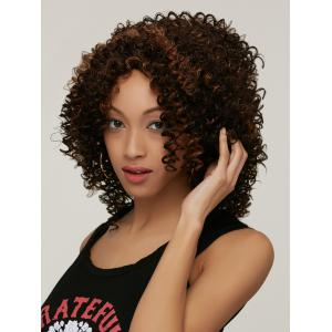 Prevailing Colormix Medium Side Parting Curly Synthetic Hair Wig -