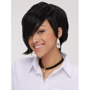 Handsome Short Pixie Cut Side Bang Straight Synthetic Wig -