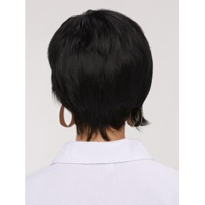 Handsome Short Pixie Cut Side Bang Straight Synthetic Wig - BLACK