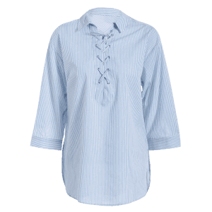 Striped Lace Up Long Sleeve Blouse - BLUE/WHITE L